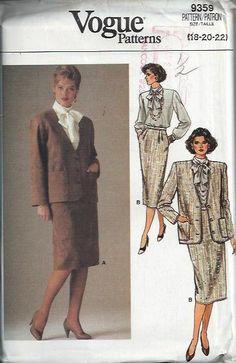 Vogue 9359 Misses Jacket Blouse and Skirt by DawnsDesignBoutique, $12.00