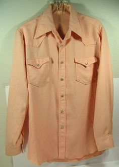 vintage peach western shirt mens XL pearl snap by moivintage, $19.99