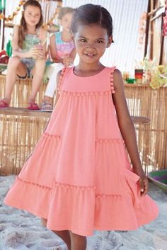 Buy Pom Pom Dress online today at Next: United States of America Newborn Girl Dresses, Baby Dress, Girls Dresses, Toddler Girl Style, Toddler Dress, Frocks And Gowns, Kids Frocks, Kids Outfits, Kids Fashion
