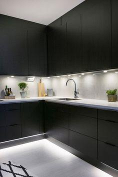 Kitchen Under Cabinet Lighting, Black Kitchen Cabinets, Black Kitchens, Home Kitchens, House Furniture Design, Kitchen Furniture, Kitchen Interior, Kitchen Decor, Charcoal Kitchen