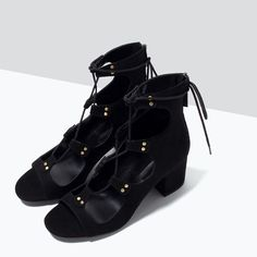 LACE-UP BLOCK-HEELED SANDALS-View all-Shoes-WOMAN | ZARA United States