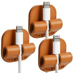 TOPHOME Genuine Leather Cable Clips Cable Organizer Cord Management Wire Management System USB Cable Clips Self Adhesive Durable Multifunction 3 Pcs Orange Leather Diy Crafts, Leather Gifts, Leather Projects, Leather Craft, Leather Tooling, Leather Wallet, Leather Workshop, Wire Management, Cord Organization