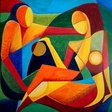 Catawiki online auction house: Teresa Kluszczyńska - Week-end Cubist Art, Mural Painting, Contemporary Paintings, Picasso, Auction, Canvas, Drawings, House, Modern Art