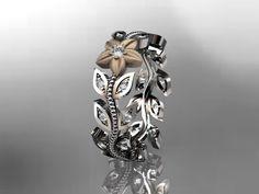 14kt two-tone gold diamond flower, leaf and vine wedding ring,engagement ring,wedding band.ADLR161. $995.00, via Etsy.