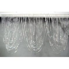 """3 ft x 20"""" Clear Iridescent Faux Crystal Like Curtain"""