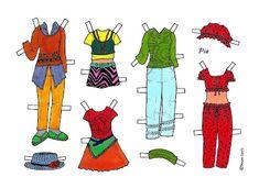 Karen`s Paper Dolls: Pia 1-3 Paper Doll in Colours. Pia 1-3 påklædningsdukke i farver.