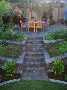 "Tiered yard patio - exactly how I want to ""manage"" our yard to woods scenario"