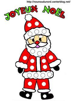 Père Noël en couleur pour gommettes