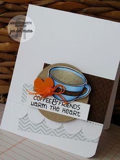 Card by Jen del Muro. Reverse Confetti stamp set: Be a Barista. Confetti Cuts: Double Edge Scallop Border, Love Note and Circles 'n Scallops. Coffee and Friends. Friendship card.