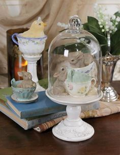 """11"""" Tall Glass Dome Cloche Playful Bunnies Easter Children Table Top Decor #Unbranded"""