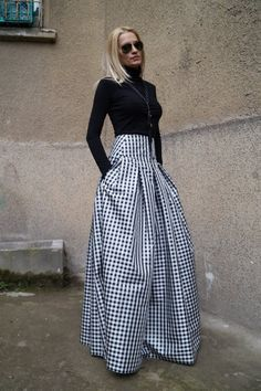 Gingham Lovely Black and White Long Maxi Skirt/High or Low Waist Skirt/Long Waistband Skirt/Fashion Skirt/ Pleated Skirt/ Maxi Skirt/ F1578