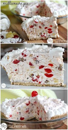 If you like Ambrosia salad, you will love this easy no bake Millionaire Pie recipe! Just 5 minutes of prep for a yummy coconut, pecan & pineapple dessert! Dessert Simple, Yummy Treats, Sweet Treats, Yummy Food, Delicious Meals, No Bake Desserts, Easy Desserts, Cake Recipes, Dessert Recipes