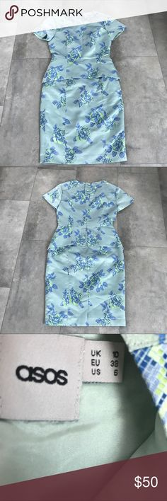 {asos} mint floral dress! Asos mint floral dress! Size 6. Beautiful neon floral print. Excellent condition. Pit to pit is 17 in. Shoulder to shoulder is 15.5 in. Waist flat is 14 in. Length is 39 in. Hips flat is 18 in. Zipper up the back. Comes with extra button. Bundle and save! Asos Dresses