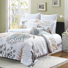 Birdie 7pc 100% Cotton Floral and Birds Comforter Set