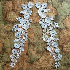 ivory bridal lace applique pair crochet wedding by lacetime Flower Applique, Embroidery Applique, Floral Embroidery, Lace Flowers, Floral Lace, Floral Motif, Floral Design, Corsage, Crochet Wedding