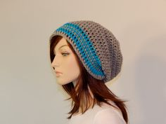 Aqua Blue and Light Gray Slouch Hat Lots of by MarlowsGiftCottage