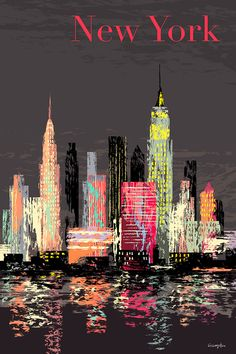A retro style new york poster by michael crampton. New York Painting, City Painting, Oil Painting Abstract, Skyline Painting, Cityscape Art, New York Poster, New York Art, New York Travel, City Art