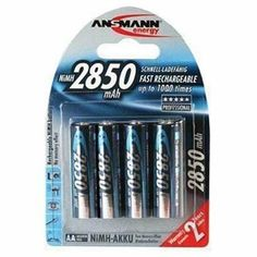 Ansmann 5035092 AA Nickel Metal Hydride 2850mah Rechargeable Batteries - Pack of 4 by Ansmann. $23.59. These are the latest ultra-high capacity NiMh AA rechargeable batteries from Ansmann offering a tremendous 2850 mAh capacity. Pack of 4.