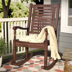 Take a much needed moment to relax on your porch, deck or in your backyard with this classically designed Solid Acacia Wood Patio Rocking Chair. Perfect for enjoying those lazy summer afternoons with a Teak Rocking Chair, Outdoor Rocking Chairs, Wicker Chairs, Patio Chairs, Bar Chairs, Pink Chairs, Room Chairs, Dining Chairs, Wood Patio