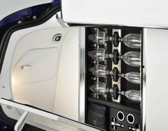 This trunk-mounted champagne serving set is uniquely Rolls-Royce.