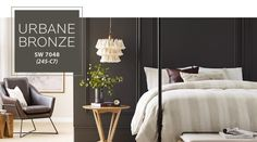 Interior inspiration using Urbane Bronze. Beautiful in a bedroom mixed with off white accents and natural textures. #UrbaneBronze Interior Decorating Styles, Home Decor Trends, Decorating Ideas, Gray Interior, Interior Design, Farmhouse Interior, Interior Paint, Modern Farmhouse, Accent Wall Colors