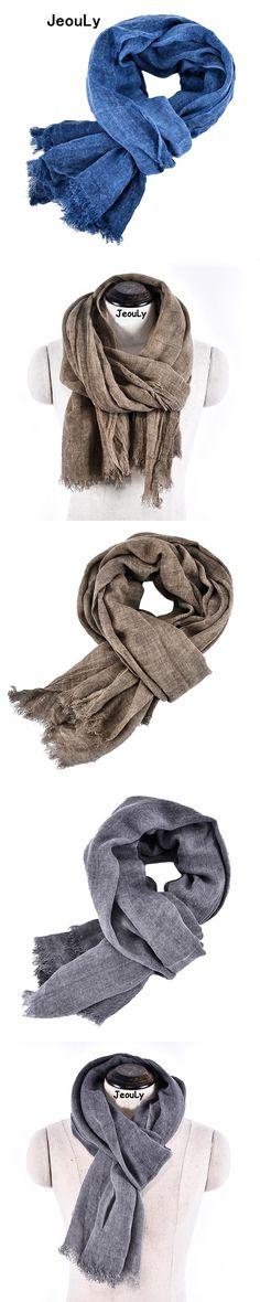 Jeouly New Arrival solid Bufandas Mens Scarves Fashion Brand plain Scarf Spring Autumn Warm Soft Shawls Cotton Tassel Scarves