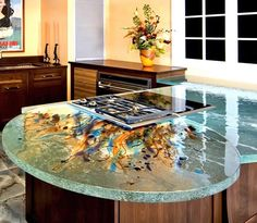 I'm so in love with this counter top made from recycled glass bottles.