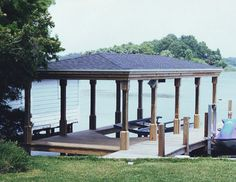 Basic boathouse with no roof overhang and tiered fascia
