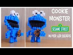 3D Perler Bead Cookie Monster (Sesame Street) - YouTube