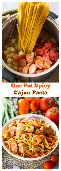 This one pot spicy cajun pasta is an easy weeknight meal filled with peppers, onions, succulent shrimp, chicken, andouille sausage and hearty spices. Almost no prep time, just throw it in the pot and go!:
