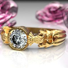 Thistle Engagement Ring, 10K 14K or 18K Gold & Moissanite, Scottish Solitare, Floral Wedding, Handcrafted Rings, Platinum or Palladium 5062