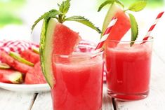 Similar Images, Stock Photos & Vectors of Watermelon cocktail on table, close-up - 221942221 Strawberry Banana Yogurt Smoothie, Yogurt Smoothies, Easy Smoothies, Homemade Smoothies, Fruit Smoothie Recipes, Smoothie Detox, Just Juice, Exotic Food, Clean Eating Snacks