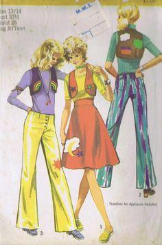 VINTAGE BOLERO PANTS SEWING PATTERN 1970s SIMPLICITY 9376 BUST 33.5 HIP 36.5 CUT