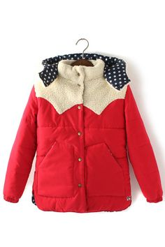 Bear Ear Hat Collar Color Blocking Cotton-padded Outerwear