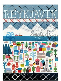 Reykjavik poster created by British artist Jenny Bowers for the Human Empire Artist Series #travel #illustration #iceland