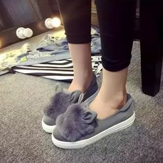 shoes platform flats 2017 New winter boots Fashion Real Fur Shoes Woman ears Shoes Female Low Cut Casuals leisures lady
