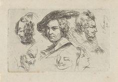 Cornelis Kruseman | Studieblad met zes koppen, Cornelis Kruseman, 1818 | Studieblad met zes verschillende koppen van mannen en vrouwen.