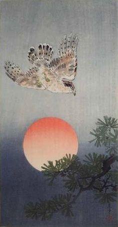 """Hawk and setting sun"" by Ohara Koson"
