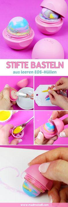 Stifte aus leeren EOS Lipbalms basteln – DIY Schulsachen selber machen