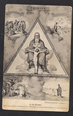 Antique The Trinity Old French Postcard of The by Divinegiftshop