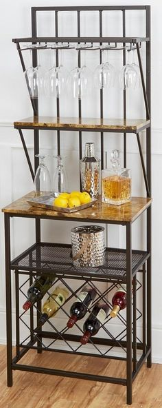 Bakers Rack Kitchen Pantry SHELF Wine Bottle Storage Book Stand Shelves Glasses #BakersRackKitchenPantry
