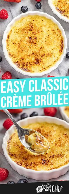 Easy classic crème brûlée hits the spot with a rich, thick vanilla custard and caramelized sugar topping. This is so exquisite, your guests won't believe you made this at home! Great Desserts, Mini Desserts, Delicious Desserts, Yummy Food, Custard Desserts, Pudding Desserts, Baking Recipes, Snack Recipes, Dessert Recipes