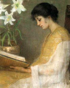 La Lecture  by Emily Bobovnikoff (1898-1945) - (23silence via lilacsinthedooryard)