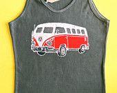 VW batik tank top hippie volkswagen camper women hand painted & hand dyed grey  size S, M ,L ,XL $36
