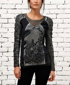 Smoke & Black Abstract Top by Angels Never Die #zulily #zulilyfinds