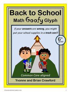 Back to School Math Goofy Glyph (6th grade Common Core) $
