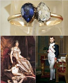As a symbol of his love for his wife-to-be Joséphine, Napoleon Bonaparte presented her with a diamond and sapphire engagement ring.  The gold ring is adorned with two pear-shaped stones – a blue sapphire and diamond that rest side by side facing opposite directions. The ring recently sold at auction for $949,000.Screen Shot 2013-07-15 at 9.27.32 AM