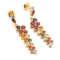 Multi-gemstone, 2.88ctw dangle earrings set in 18K yellow vermeil or platinum over sterling silver. ShopNBC Item: J400537, for $99. Mine are in platinum/sterling