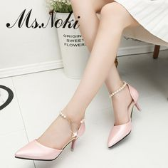 2016 women pumps high heel sexy pointed toe rhinestone and pearls tape shoes women new fashion nude sandals girls princess shoes