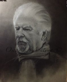 """""""Fernando Botero"""" Life Size. Charcoal and White Chock on toned paper. 16"""" x 20"""""""